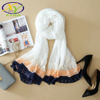 1PC 2017 Summer New Japanese Style Cotton And Lace Fashion Women Solid Long Scarf Thin Woman