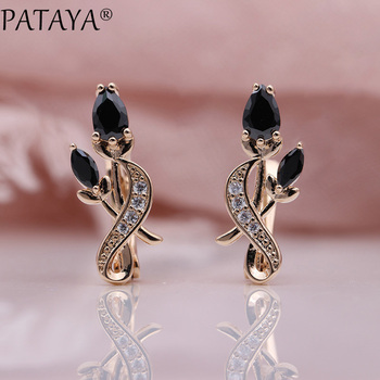 pataya new 585 rose gold extreme luxury micro wax inlay natural zircon flowers chokers necklace women wedding party fine jewelry PATAYA New Rose Flower Earring Women Fashion Original Noble Cute Jewelry 585 Rose Gold Water Drop Cubic Zircon Dangle Earrings