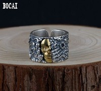 S990 Thai silver restoring ancient ways technology ring men silver copper combination texture skeleton silver ring