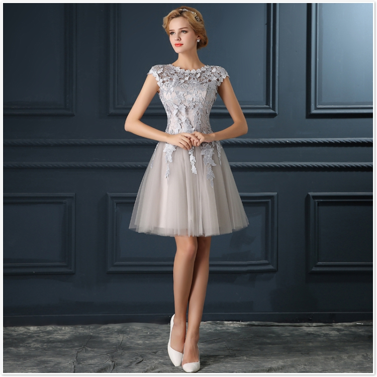 Popular Silver Lace Cocktail Dress-Buy Cheap Silver Lace Cocktail ...