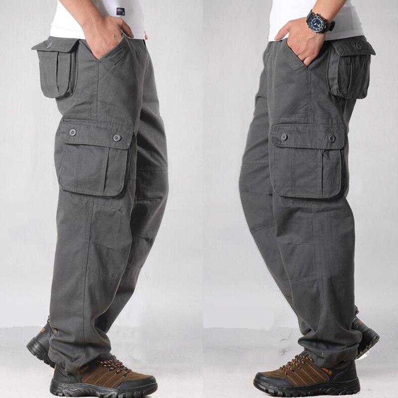 HTB1d4PyayHrK1Rjy0Flq6AsaFXal Overalls Men Cargo Pants Casual Multi Pockets Military Track Tactical Pants Pantalon Hombre Mens Sweatpants Straight Trousers