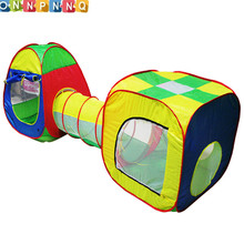 цена на Cubby-Tube-Teepee 3pc Pop-up Kds Play Tent Outdoor Fun Sports Ocean Ball Toy Tents Children Tunnel Kids Adventure House Toy Tent