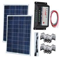 TUV CE Solar Panel System 200W Solar Panel 12v 100w 2 Pc Solar Charge Controller 12v/24v 20A 2 In 1 Connector Solar Street Light