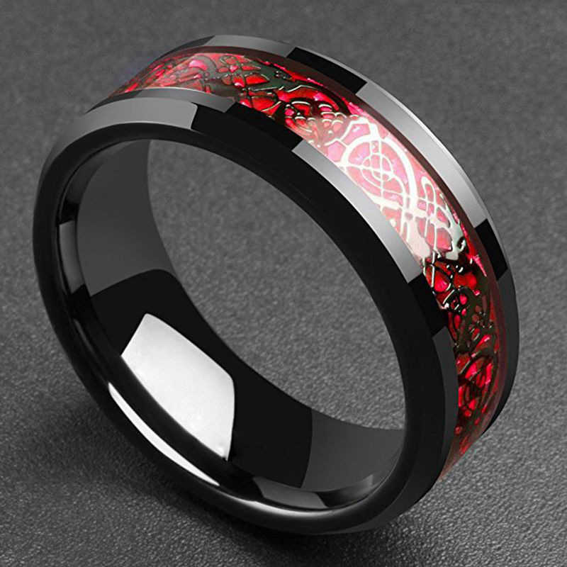 8mm Dragon Men's Black Red And Carbon Fiber Stainless Steel Green Party Ring For Comfort Fit Wedding Rings Band Men Accessories