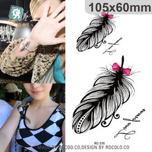 RC-235 Water Transfer Temporary Tattoo Sticker Sexy Waist Chest Designs Feather Flash Tattoo Body Art Temporary Tattoo Sticker 6pcs waterproof temporary tattoo sticker body art birds wing tattoo finger water transfer flash tattoo fake tattoo for girl boy