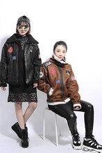 Мода хип-хоп панк мотоцикл аппликация знак засов замши берберский флис верхняя одежда женщин