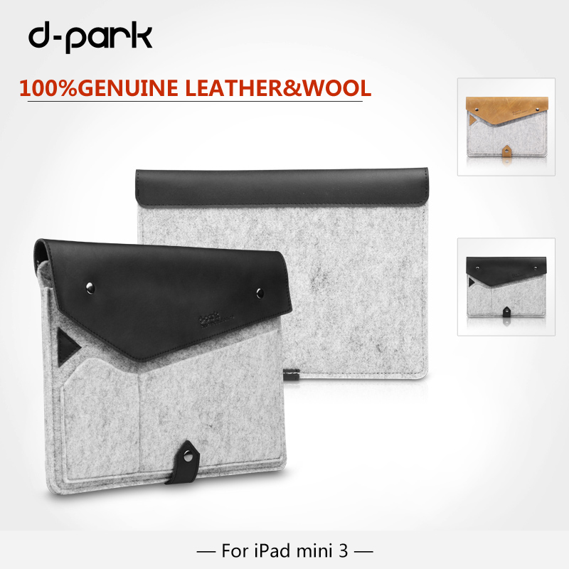 D-park Popular Style CRAZY Horse LEATHER & Wool Felt Bags Case For Apple ipad mini 4/3/iPad mini 2 sleeve For 7.9 inch Tablet