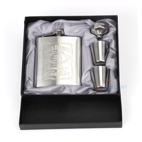 Hip Flask 7oz Set Portable Stainless Steel Flagon Wine Bottle Gift Box Pocket Flask Russian Flagon