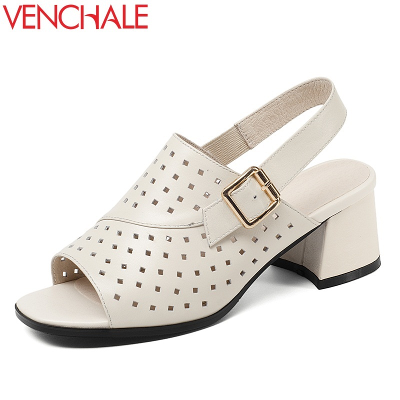 VENCHALE women shoes summer new fashion genuine leather buckle strap med hoof heels open toe back strap two colors women sandals venchale 2018 summer new fashion sandals wedges platform women shoes height heel 10 cm buckle strap casual cow leather sandals