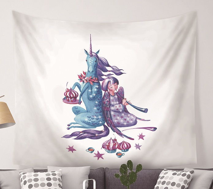 Image 2 - CAMMITEVER Unicorn Fairy Theme Wall Hanging Tapestry Cute Animal Hippie Mandala Yoga Mat Bedspread Sheets Home Decor-in Tapestry from Home & Garden
