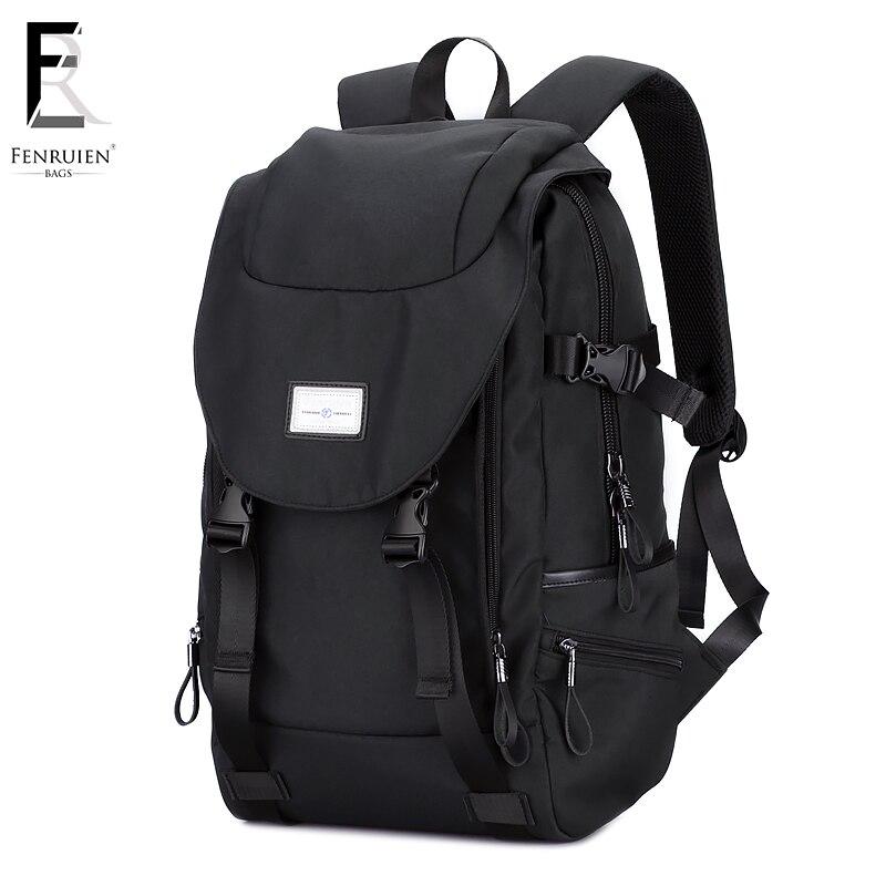 FENRUIEN 15,6 tommer bærbar rygsæk mænds rejsetasker 2018 multifunktions rygsæk vandtæt sort computer rygsæk til teenager