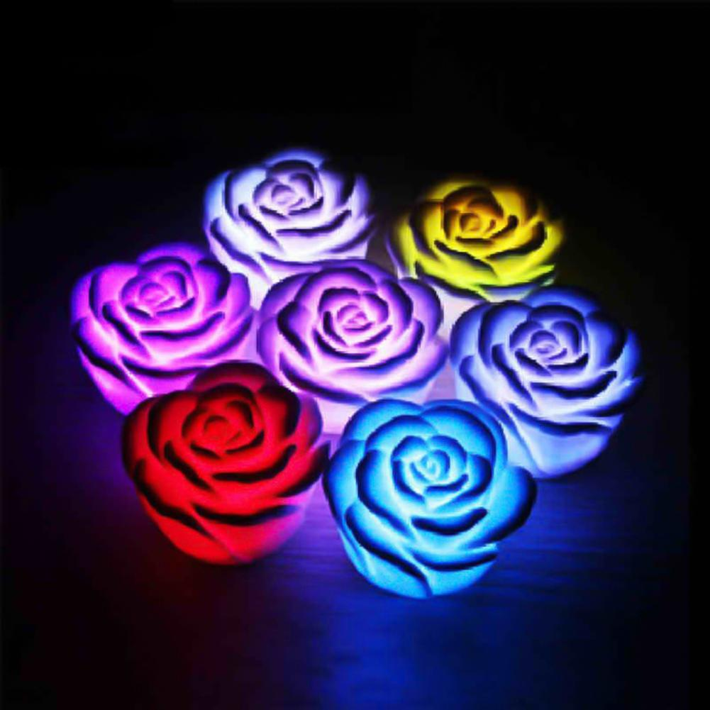 Colorful Rose Night Light 7 Color Changing LED Night Light Bedroom Lamp Valentine Party Decor Creative Romantic Gift Decor Light