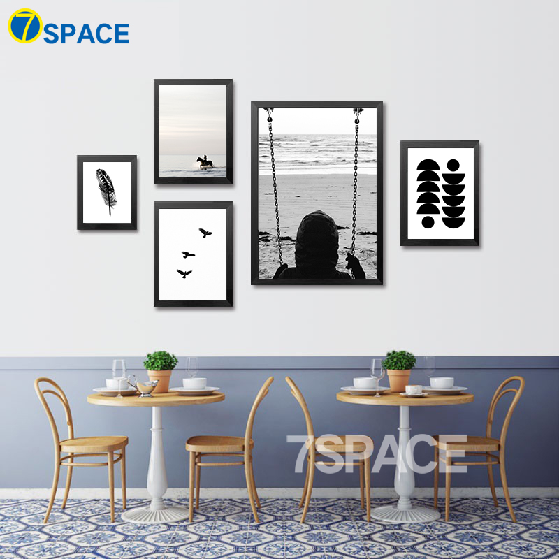 7 Space Modern Canvas Painting Play And Holidays Black White Wall Art Print  Poster Canvas Pictures Living Room Decor No Frame