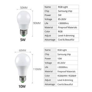 Image 5 - Rgbw rgbww sem fio luz noturna rgb lâmpada 15w 10 5w AC85 265V inteligente lâmpada/luz bluetooth app ou ir controle remoto noite lâmpada