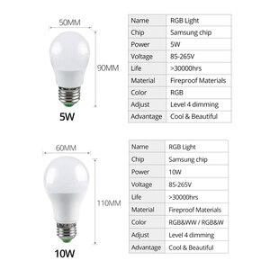 Image 5 - Wireless RGBW RGBWW Night Light RGB Bulb 15W 10W 5W AC85 265V Smart Bulb/Light Bluetooth APP or IR Remote Control Night Lamp