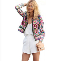 Womens Fashion Slim Floral Top Blouse Ladies Blazer Outwear Parka Overcoat Coat Jacket