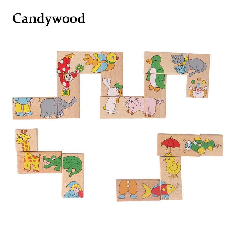 Puzle de dominó de animales de madera de 15 Uds., juguetes de madera para niños, puzle de rompecabezas, juego solitario, juguete educativo Montessori para chico