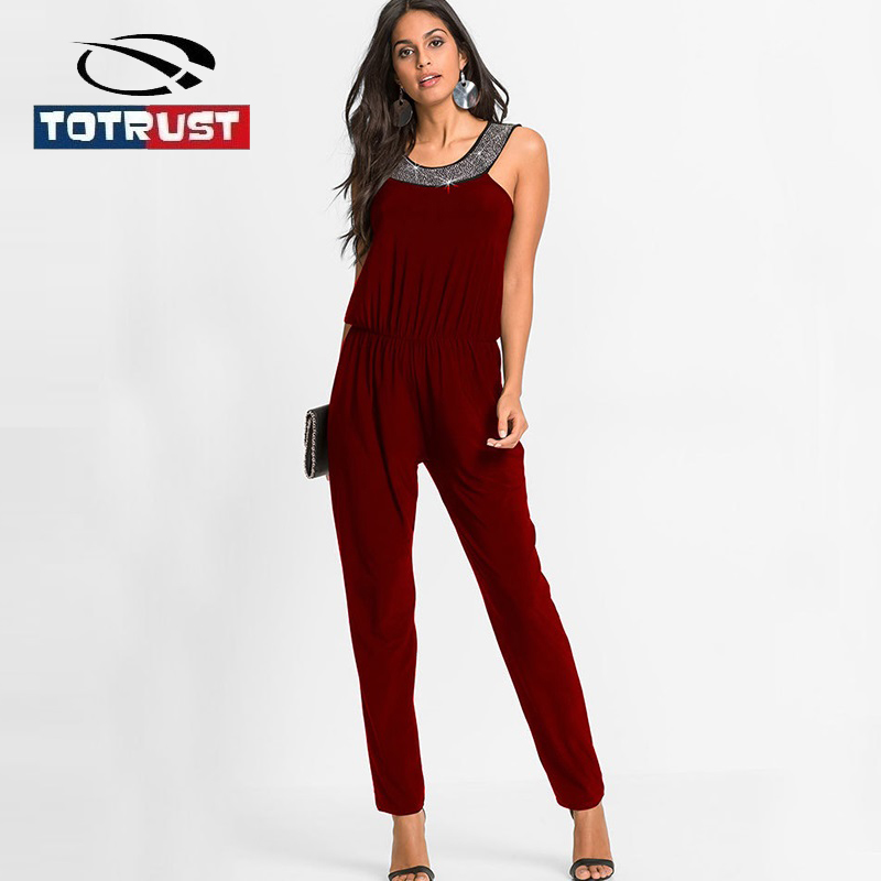 TOTRUST элегантный блесток Комбинезоны 2018 черный комбинезон, штаны Для женщин Комбинезоны сиамские летние пикантные комбинезон Combinaison Femme