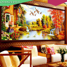 QIANZEHUI,Needlework,DIY Running water on enhancing crane, European home cross stitch, Landscape scenery ,Wall Home Decro(China)