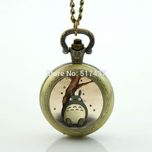 My Neighbor Totoro Pocket Watch Necklace Photo Locket Necklace Silver Vintage Pocket Watch Necklace