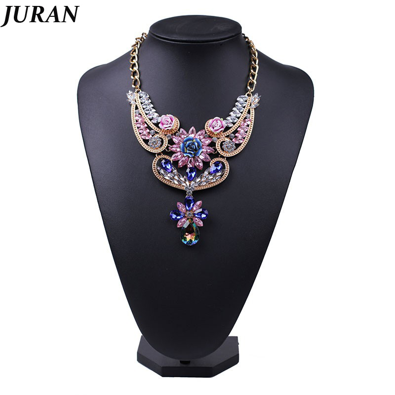 Luxury Exquisite noble classic vintage gold-color rhinestone crystal flower pendant choker necklace statement jewelry white