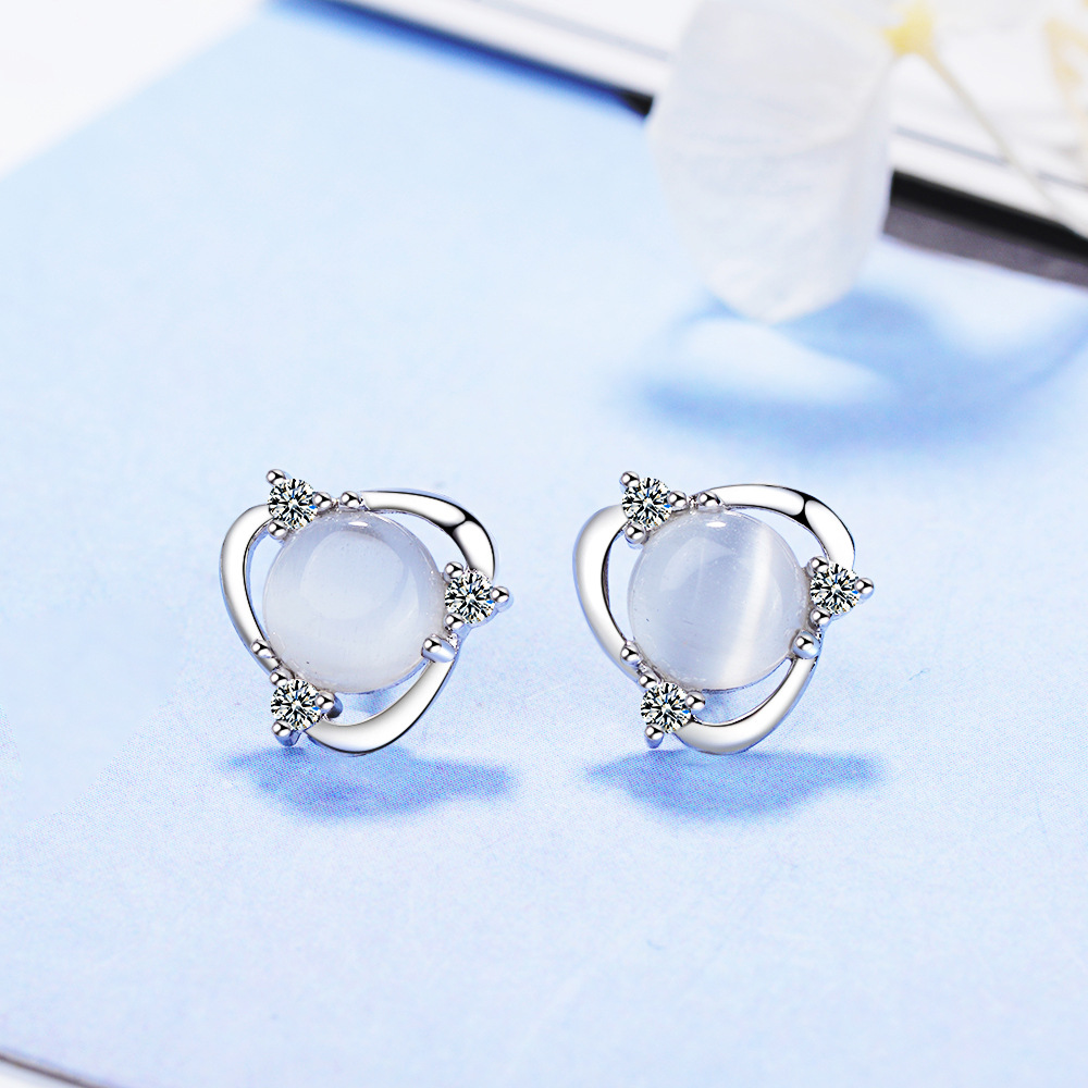 Promotion 925 sterling silver fashion natural opal stone ladies stud earrings jewelry women birthday gift Anti allergy 2019 new in Stud Earrings from Jewelry Accessories