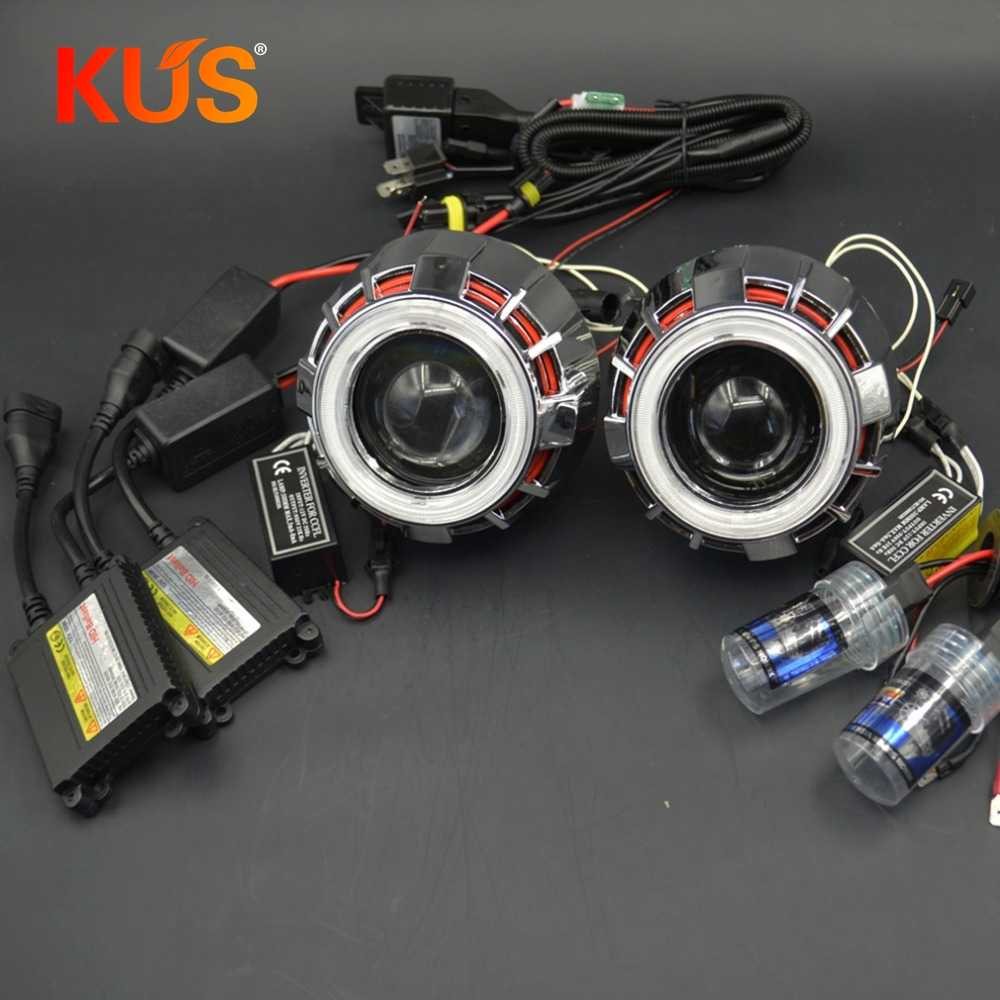 2.5inch bixenon Projector Lens Light Double Angel Eyes DRL hid xenon kit xenon bulb ballast  fit H1 H4 H7 car headlight Modify