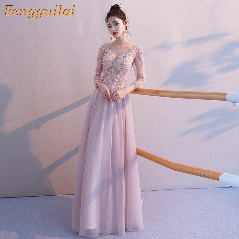 Femmes été printemps vêtements dentelle à manches longues col en v fête formelle Cocktail mariage longue robe taille régulière pull Polyester