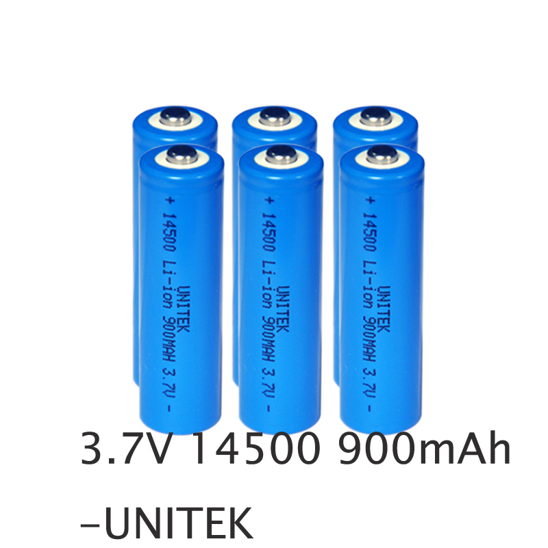6pcs unitek icr 14500 li ion battery 900mah aa size rechargeable lithium ion cylinder cell. Black Bedroom Furniture Sets. Home Design Ideas