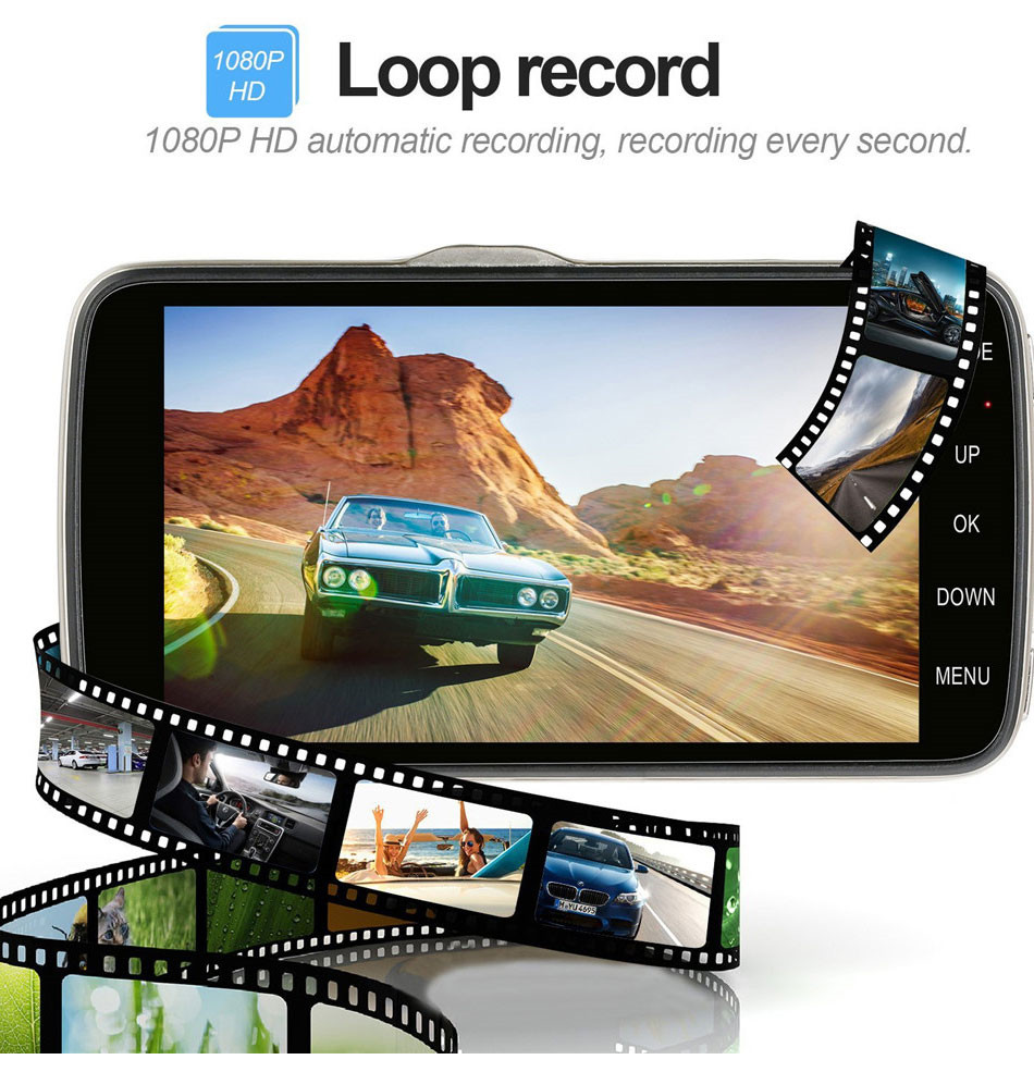 SKydot 4 Inch Car DVR Dual Lens Dash Cam Full HD 1080P Video Recorder With Rearview Camera Night Vision G-Sensor 170 Degree DVRs09