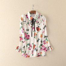 France style flower printing shirts 2017 spring  bright florals blouse ruffles flare sleeve  printed shirting S-L size