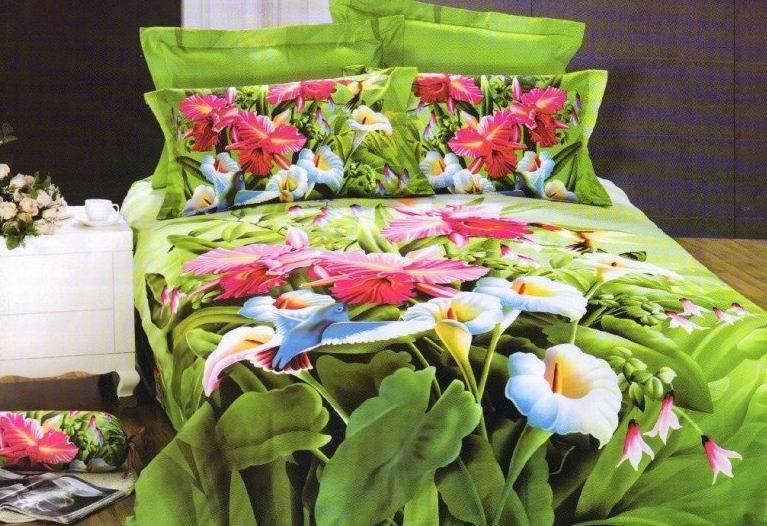 ⊱3D verde floral juegos de cama tamaño queen edredón cubierta