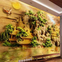 beibehang Customize any size mural wallpaper Sendai pavilion jade carved 3D carved bedroom bedroom background wall wallpaper