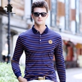2016 New men's Long Sleeve Polo Shirts Autumn Fashion Striped High Quality Plus Size Business Casual Polo Shirts For Men CB17D02