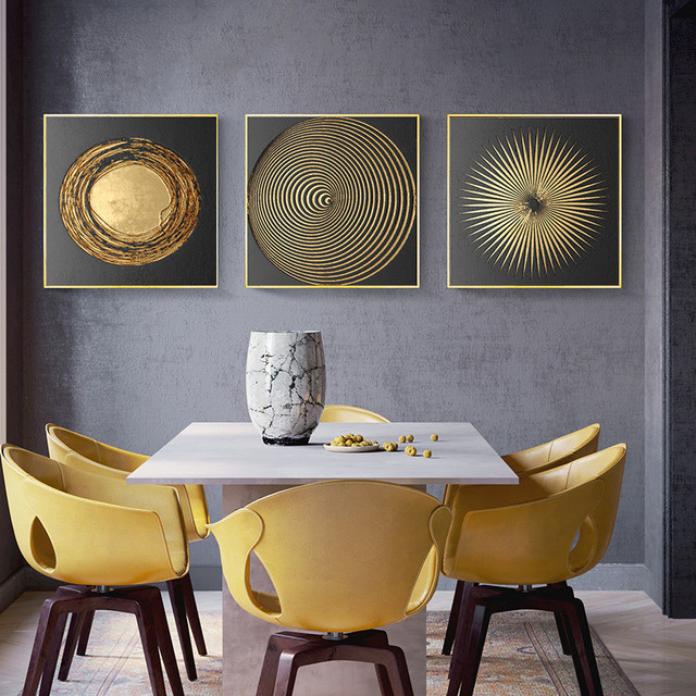 Abstract Gold Black Luxury Nordic Canvas Art Painting Home Decor Wall Art Retro Print Living ...