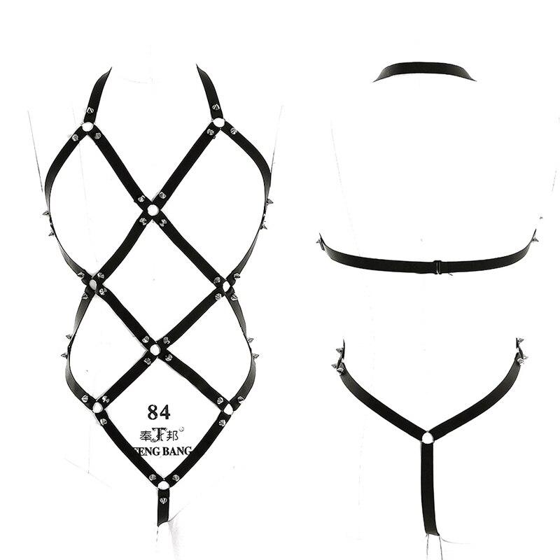 Black Full Body Harness BDSM Bondage Set Sexy Elastic