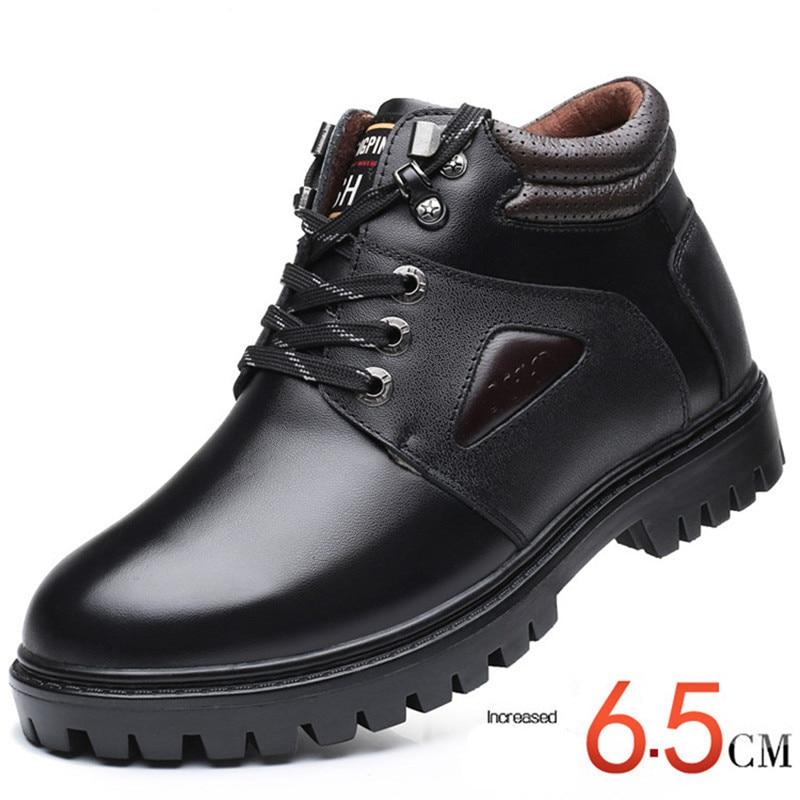 X7726 Pria Ankle Boots Wol Salju Tinggi Meningkatkan 6 cm Sepatu Bot Kulit Asli Tahan Air Tetap Hangat di Musim Dingin