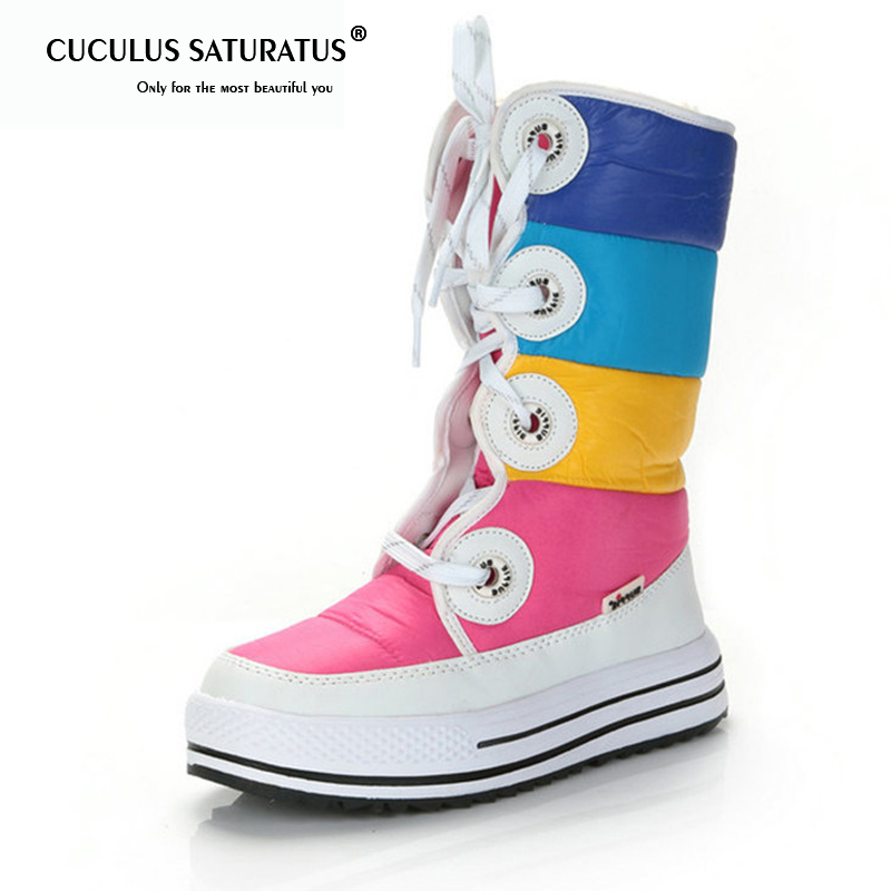 Cuculus Women Snow Boots Wedges Heel Lace Up Round Toe Women Boots Female Shoes Winter Boots Waterproof Platforms Shoes 1714