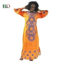 H&D Fashion Embroidery african women dress Bazin Riche 100% cotton long sleeve black woman robe Kaftan Lady Long dress