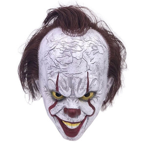 Image 4 - 2019 Movie Stephen Kings It Pennywise Cosplay Mask Latex Halloween Scary Masks Funny Clown Party Mask with Hair Costume Props