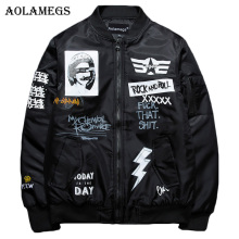 Aolamegs Winter Jacket Men Rock & Roll Plus Size Thick MA-1 Pilot Bomber Jackets Men Print Fashion Men's Coat Autumn Windbreaker