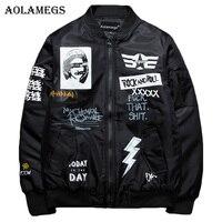 Aolamegs Winter Jacket Men Rock & Roll Plus Size Thick MA 1 Pilot Bomber Jackets Men Print Fashion Men's Coat Autumn Windbreaker