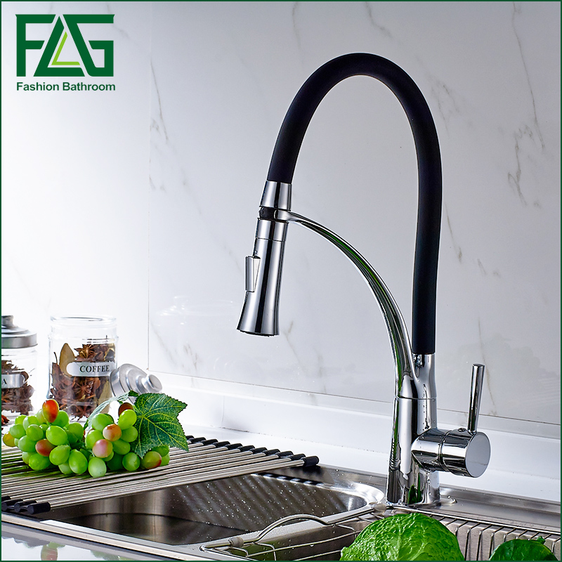 Newly Design 360 Swivel 100% Solid Brass Single Handle Mixer Sink Tap Pull Out Down Kitchen Faucet In Chrome Finish free shipping high quality chrome brass kitchen faucet single handle sink mixer tap pull put sprayer swivel spout faucet