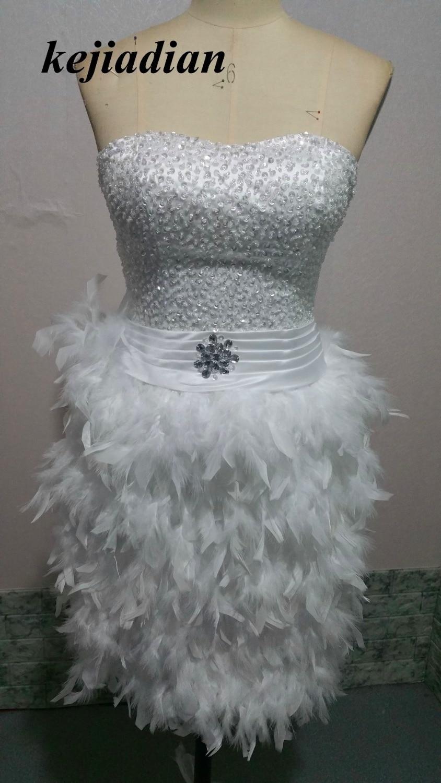 vestido coctel white Lace Feather Short Cocktail Dresses 2017 Short Prom Party Dresses Feather Dresses robe de cocktail