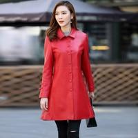 Ptslan Brand Guaranteed 100 Genuine Leather Jackets Women Spring Fashion Real Sheepskin Long Leather Trench