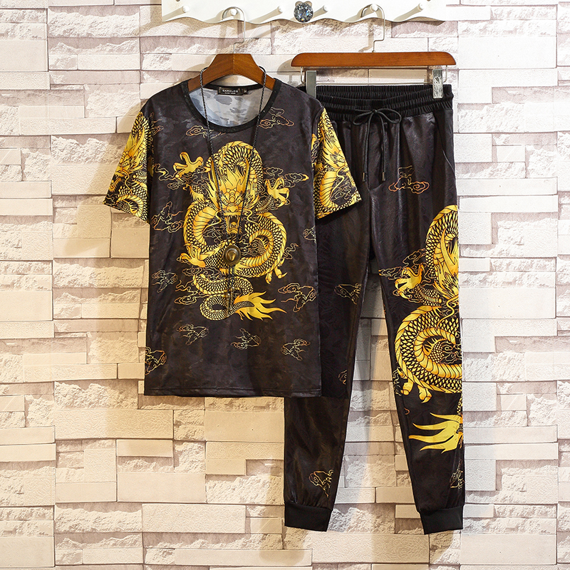 2019 Summer Men Dragon Pattern Sets High Quality Ice Silk Short-Sleeved T-shirt Long Pant Male Tracksuits Mens Sweat Suits 7XL