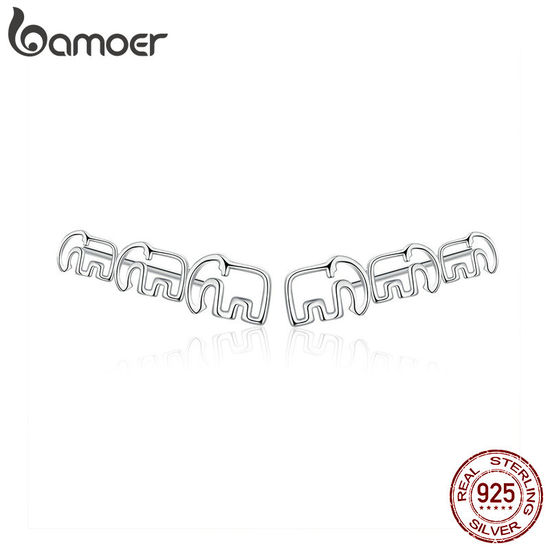 Bamoer Elephant Family Migration Silver Long Stud Earrings For Women Sketch Line Simple Studs 925 Sterling Silver Jewelry SCE678