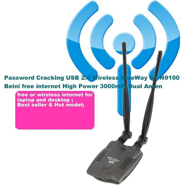 De alta potência 3000 mW USB 2.0 sem fio BlueWay BT-N9100 Beini acesso gratuito à internet de alta potência 150 mW dupla antena Ralink 3070