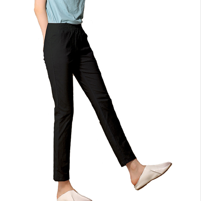 Women Ankle Length linen pants casual pencil pants  pants Slim solid spring summer autumn trousers for women plus size A375