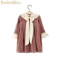 2017 Autumn Vintage Style Baby Girl Velvet Dress Bowknot Flare Sleeve Winter Kids Dresses For Girls